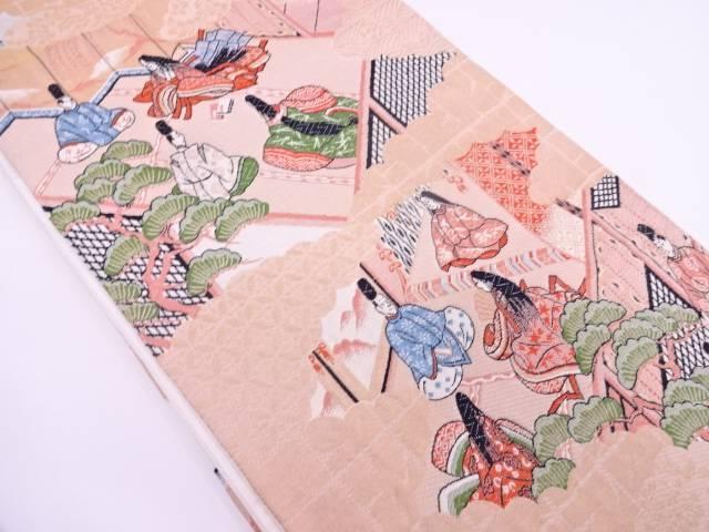 【IDN】 弥栄織物製製 時代人物風景模様織出し袋帯【リサイクル】【中古】【着】