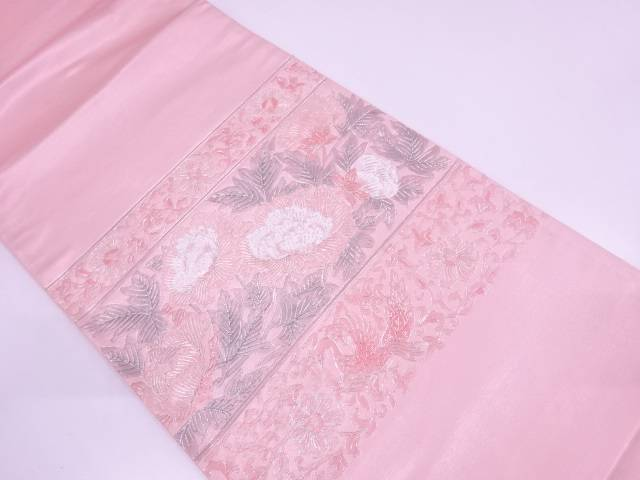 【IDN】 横段に花鳥模様刺繍袋帯【リサイクル】【中古】【着】