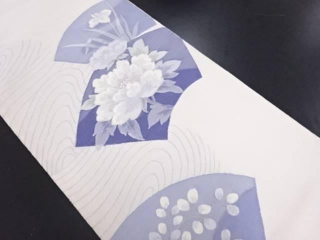 【IDN】 地紙に牡丹菖蒲萩模様織り出し袋帯【リサイクル】【中古】【着】