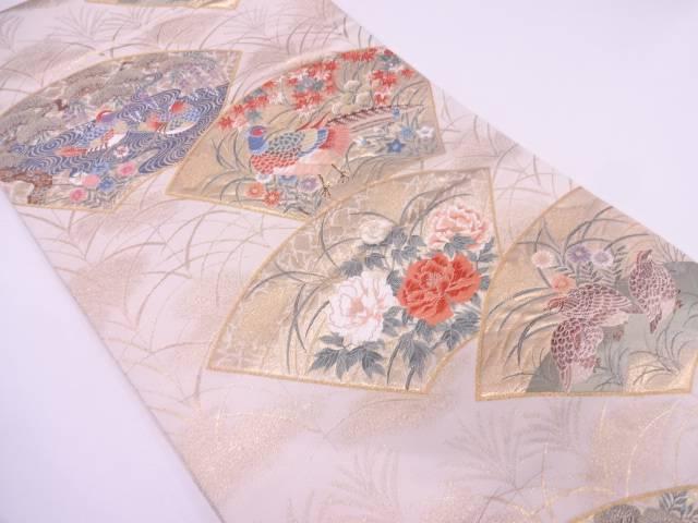 【IDN】 本金箔桃山扇面花鳥集織出し袋帯【リサイクル】【中古】【着】