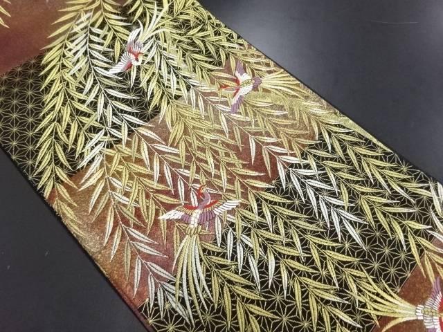 【IDN】 未使用品 野々村機業製 枝垂れ柳に尾長鳥・麻の葉模様織り出し袋帯(未仕立て)【リサイクル】【着】