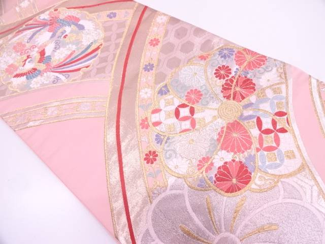【IDN】 雪輪に鳳凰・花模様織出し袋帯【リサイクル】【中古】【着】