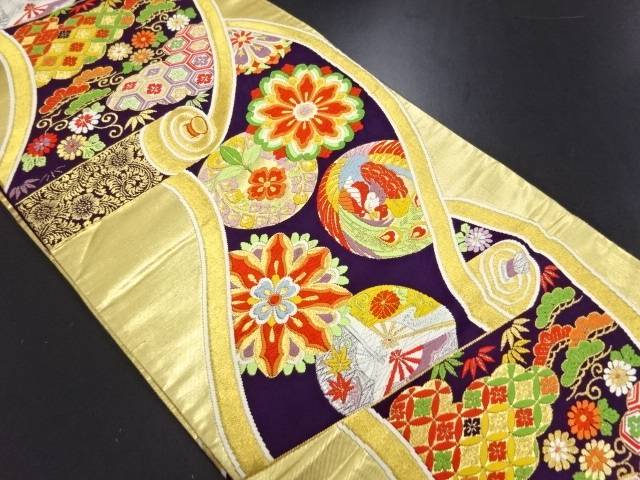【IDN】 巻物に華紋・古典柄織り出し袋帯【リサイクル】【中古】【着】