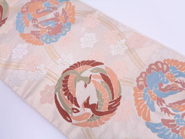 【IDN】 川島織物製 立涌に向かい鳳凰丸文様織出し袋帯 【リサイクル】【中古】【着】