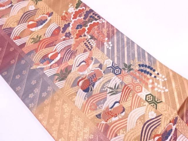 【30%OFF】【IDN】 鴛鴦に松・梅模様織出し袋帯【リサイクル】【中古】【着】