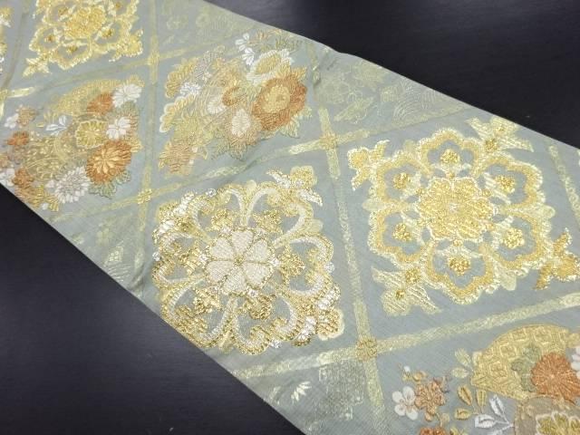 【IDN】 本金華紋に花扇・和楽器模様織り出し袋帯【リサイクル】【中古】【着】
