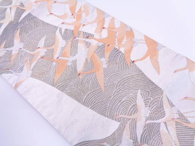 【IDN】 波に群鶴模様織出し袋帯 【リサイクル】【中古】【着】