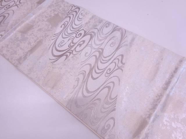 【IDN】 服部織物製 こはく錦観世水模様織出し袋帯【リサイクル】【中古】【着】