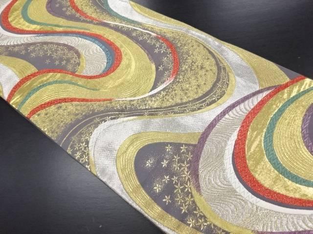 【IDN】 金銀糸流水に花織り出し袋帯【リサイクル】【中古】【着】