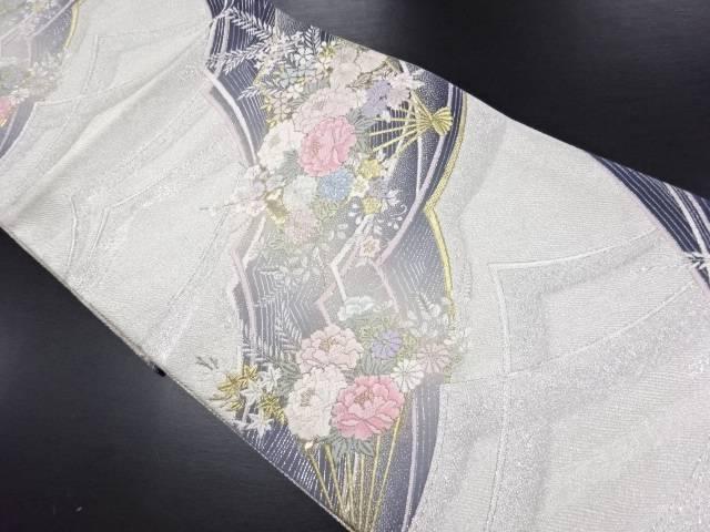 【IDN】 金銀糸花扇模様織り出し袋帯【リサイクル】【中古】【着】