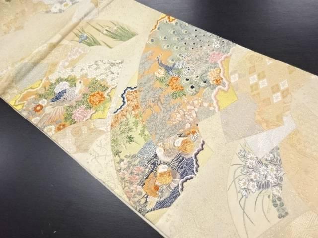 【IDN】 純金箔景年花鳥絵図織り出し袋帯【リサイクル】【中古】【着】