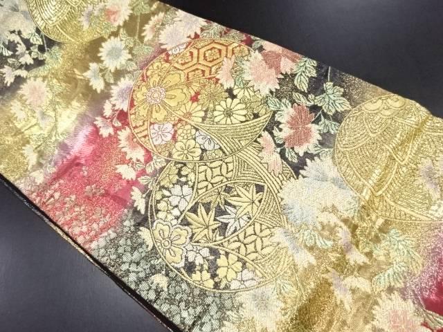 【IDN】 金糸毬に菊・楓模様織り出し袋帯【リサイクル】【中古】【着】