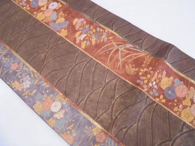 【IDN】 縞に秋草・波模様織出し袋帯【リサイクル】【中古】【着】