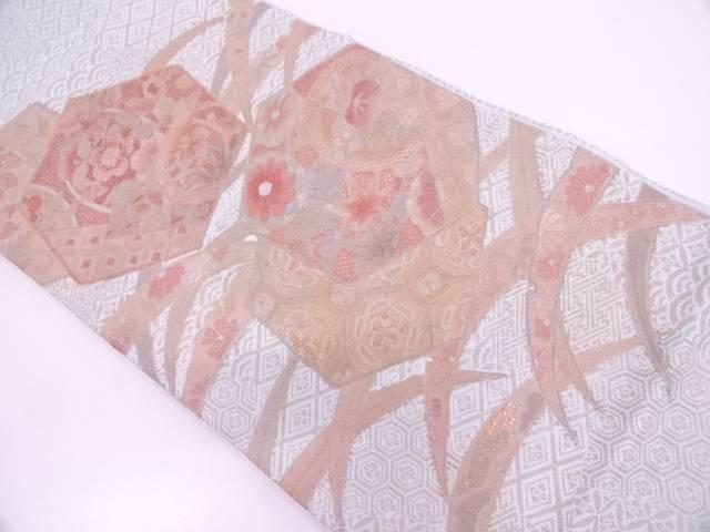 【IDN】 未使用品 汕頭相良蘇州刺繍亀甲に草花・雪芝模様袋帯【リサイクル】【着】