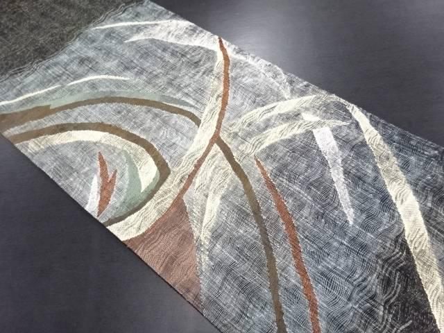 【IDN】 金糸すくい織抽象模様織出袋帯【リサイクル】【中古】【着】