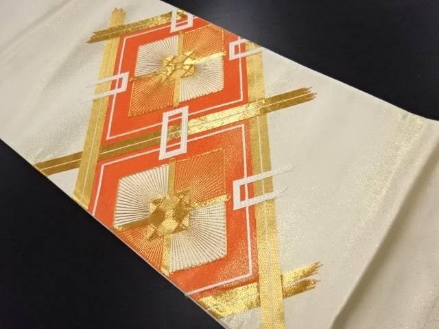 【IDN】 変わり斜め格子に菱模様刺繍袋帯【リサイクル】【中古】【着】