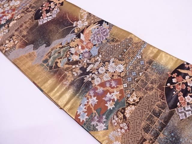 【IDN】 光釉色箔地紙に松梅・花鳥模様織出し袋帯【リサイクル】【中古】【着】