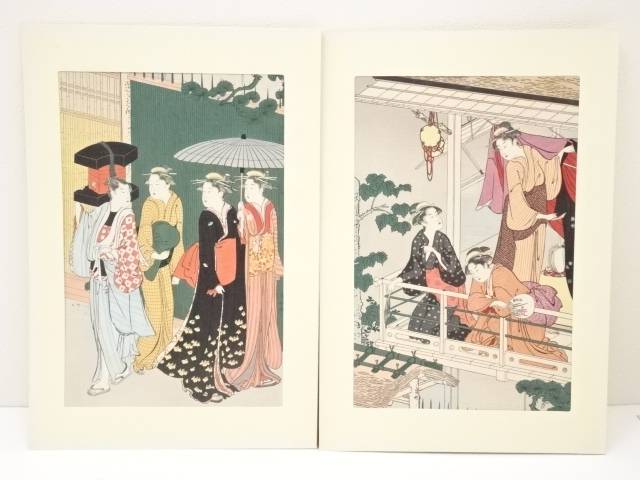 【IDN】 鳥居清長 地紙売り 手摺浮世絵木版画 2枚続【中古】【道】