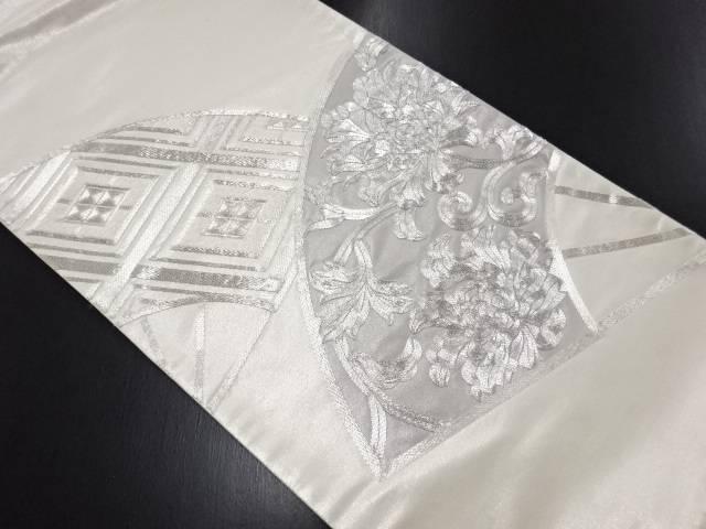 【IDN】 扇面に花模様刺繍袋帯【リサイクル】【中古】【着】