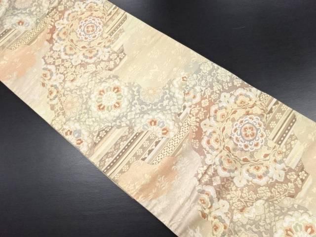 【IDN】 本金 道長取に華紋・花古典柄織り出し袋帯【リサイクル】【中古】【着】