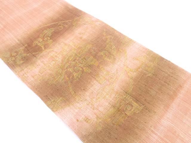 【IDN】 絹芭蕉花唐草模様織出し袋帯【リサイクル】【中古】【着】