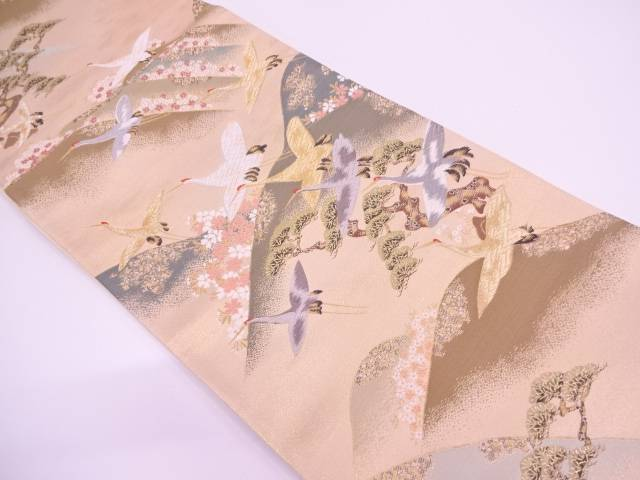 【IDN】 光琳山並みに草花・群鶴模様織出し袋帯【リサイクル】【中古】【着】