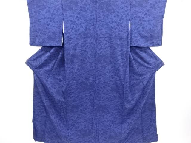 【IDN】 本藍型染流水に草花模様小紋着物【リサイクル】【中古】【着】