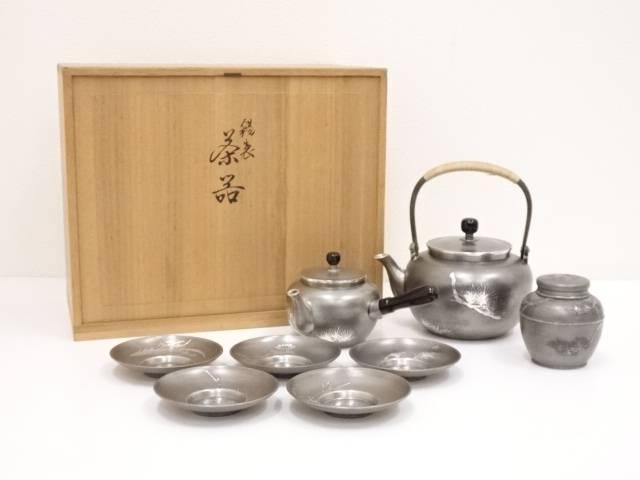 【IDN】 錫半造 錫製煎茶器セット(1635g)【中古】【道】