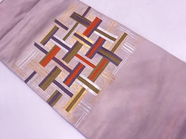 【IDN】 網目に花模様刺繍袋帯【リサイクル】【中古】【着】