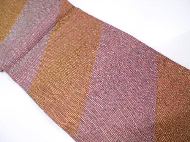 【IDN】 未使用品 変わり織斜め縞模様織出し全通袋帯【リサイクル】【着】