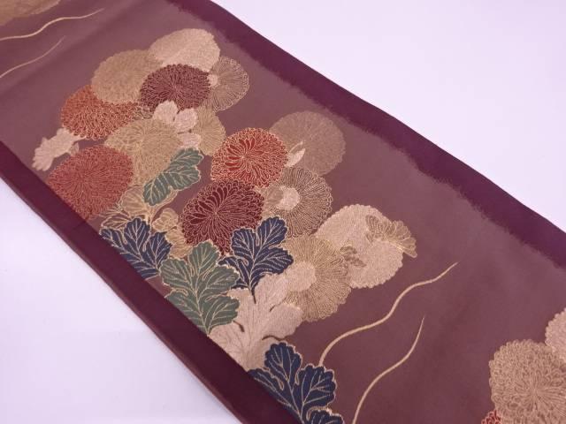 【IDN】 縞に菊模様織出し袋帯【リサイクル】【中古】【着】