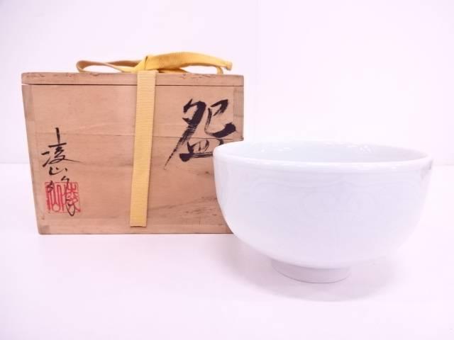 【IDN】 凌山造 青白磁草花紋茶碗【中古】【道】
