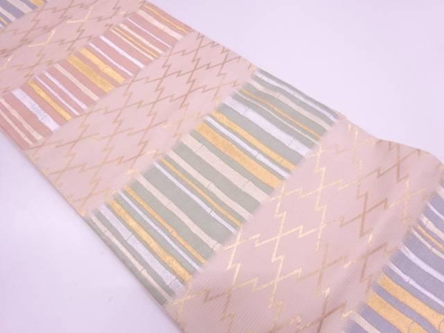 【IDN】 横段に竹笹・松皮菱模様織出し袋帯【リサイクル】【中古】【着】