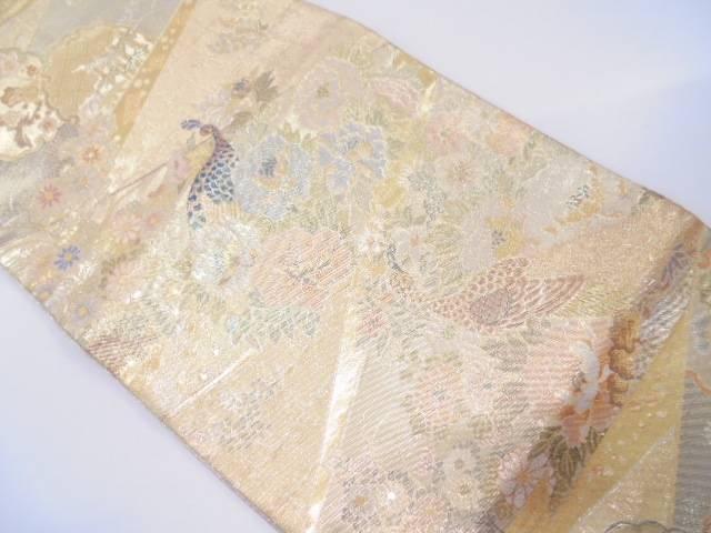 【IDN】 牡丹に孔雀模様織出し袋帯【リサイクル】【中古】【着】