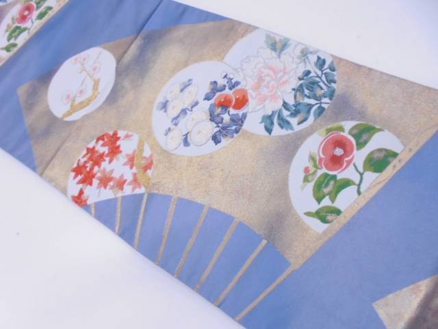 【IDN】 扇面に梅・草花模様織出し袋帯【リサイクル】【中古】【着】
