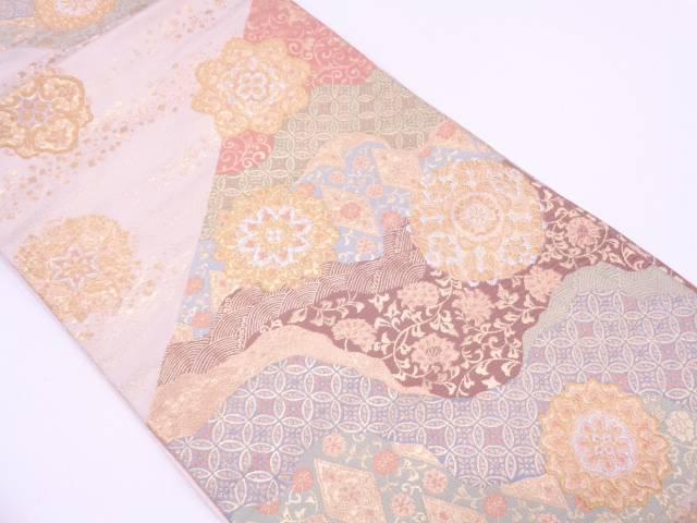 【IDN】 服部織物製 華紋に古典柄模様織出し袋帯【リサイクル】【中古】【着】