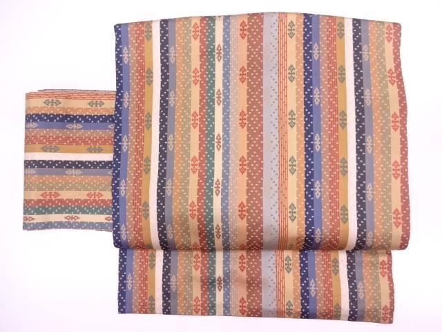 【IDN】 縞模様織出し作り帯【リサイクル】【中古】【着】