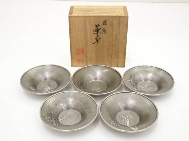 【IDN】 三越製 錫製茶托5客(403g)【中古】【道】