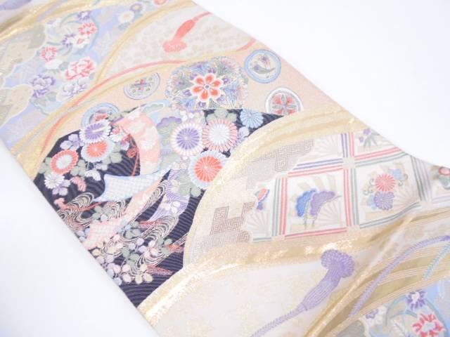 【IDN】 九百錦24K本金箔花の調べ模様織出し袋帯【リサイクル】【中古】【着】