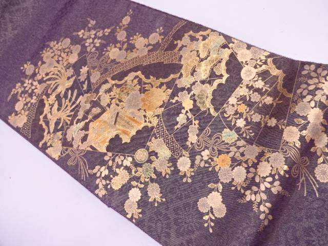 【IDN】 金彩檜扇に御所車・花鳥模様袋帯【リサイクル】【中古】【着】