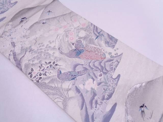 【IDN】 プラチナ箔二重織九百錦孔雀に草花・風景模様織出し袋帯【リサイクル】【中古】【着】