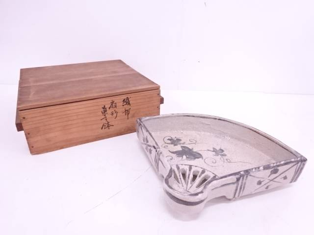 【IDN】 葵窯造 志野織部扇面菓子器【中古】【道】