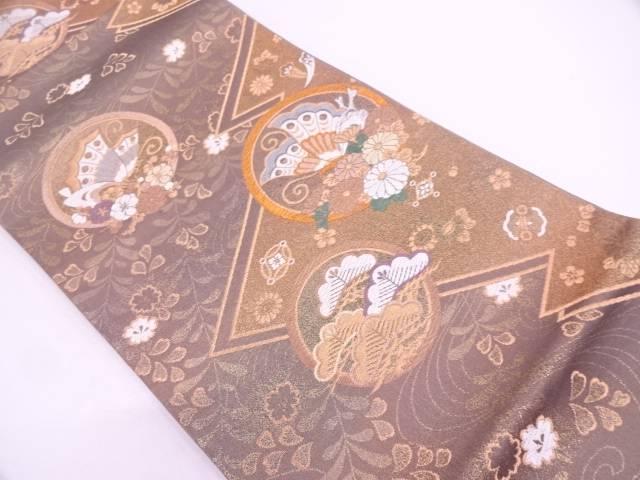 【IDN】 丸文に蝶・草花模様織出し袋帯【リサイクル】【中古】【着】