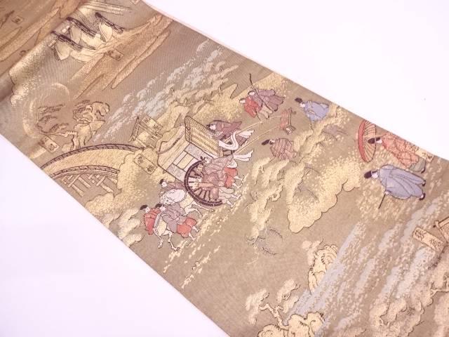 【IDN】 本金箔時代人物風景模様織出し袋帯【リサイクル】【中古】【着】