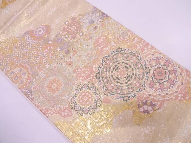 【IDN】 未使用品 花唐草に抽象模様織出し袋帯【リサイクル】【着】