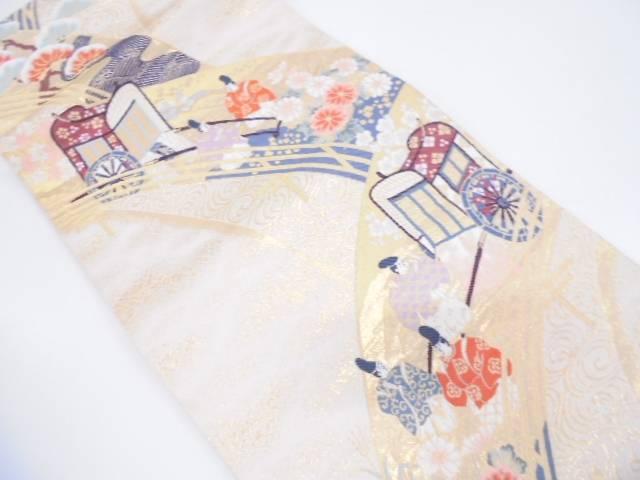 【IDN】 本金箔御所車に草花・時代人物模様織出し袋帯【リサイクル】【中古】【着】