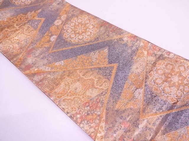 【IDN】 檜扇に宝相華模様織出し袋帯【リサイクル】【中古】【着】