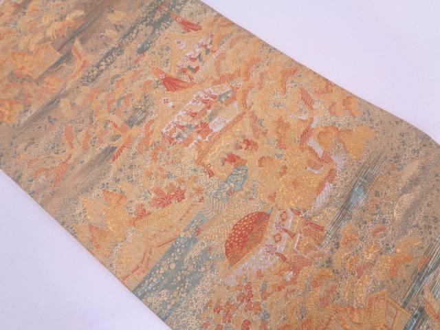 【IDN】 鶴に屋敷・時代人物風景模様織出し袋帯【リサイクル】【中古】【着】