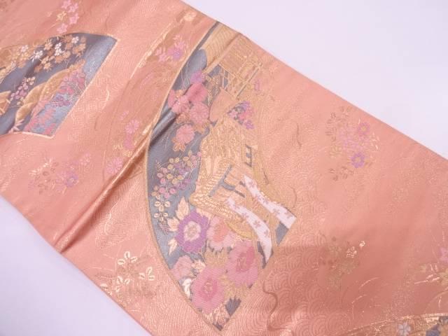 【IDN】 純金箔24K二重箔扇面平安紋様織出し袋帯【リサイクル】【中古】【着】