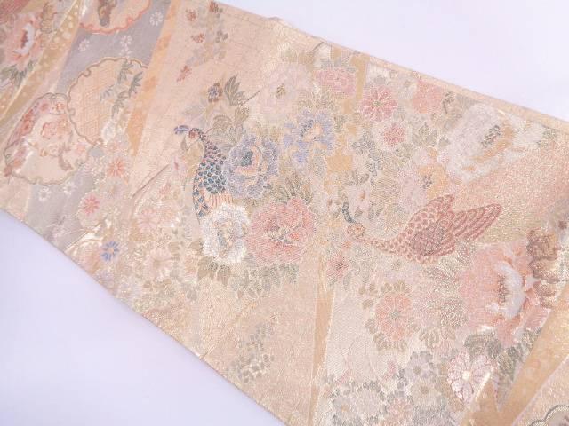 【IDN】 佐賀錦雪輪に花鳥模様織出し袋帯【リサイクル】【中古】【着】